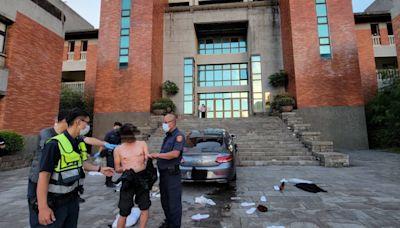 瘋狂!北藝大舍監半裸開賓士車衝撞校園 車內還掉出3包大麻
