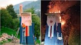 Arsonists Torch Controversial Donald Trump Statue In Melania Trump's Home Country