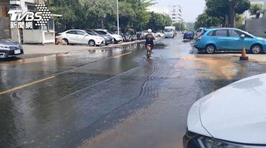 工業區爆管馬路積水 漏水逾2小時未止漏
