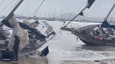 Storm Gloria Beaches Sailboats on Shores of Mallorca