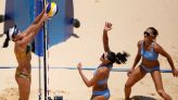 Olympics-Beach Volleyball-Brazil double up over Argentina, Swiss women on top
