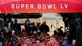 Kansas City chiefs run out to Super Bowl tomahawk chop despite headdress ban