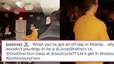 Joe Jonas Shows Up To Jonas Brother-Themed Cycling Class, Chaos Ensues