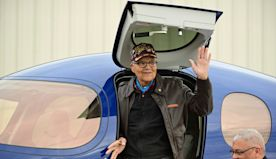 Tuskegee Airman Charles McGee Celebrates His 100th Birthday by Flying a Plane