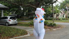 Unicorn spreads socially distant cheer in already quirky neighborhood