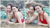 蔡思貝紅色泳衣搶晒鏡 同楊秀惠一家慶祝母親節