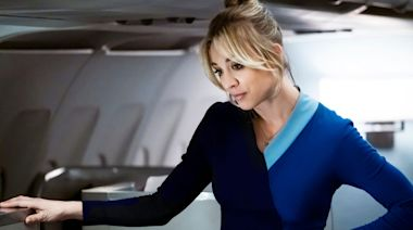 Fly the Penny skies: 'Big Bang Theory' fans find 'Flight Attendant' Kaley Cuoco at 35,000 feet