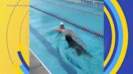 Caeleb Dressel shows off dog's swimming skills