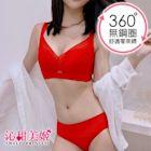 無鋼圈內衣褲 法式蕾絲 高脇邊防外擴 包覆集中舒適 沁甜美姬(紅)