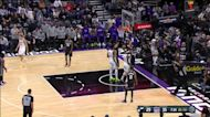Jordan Clarkson with an and one vs the Sacramento Kings