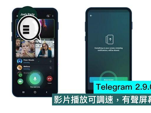 Telegram 2.9.0 版本大更新,影片播放可調速,有聲屏幕,千人會議
