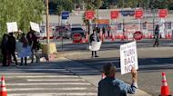 Protesters Disrupt Drive-In COVID-19 Vaccinations at Dodger Stadium in Los Angeles
