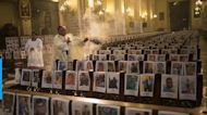 Thousands of faces at Mass in Peru all who have passed away