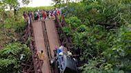 Vehicles Stuck as Bridge Collapses in Philippines