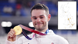 The map that shows the home towns of GB's medal winners (so far)