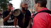 BLM protesters hurl anti-gay remarks at Guardian Angel member near Carmine's protest