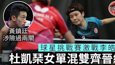 【乒乓球星挑戰賽】杜凱琹港隊內戰險勝李皓晴 黃鎮廷男單涉險闖8強