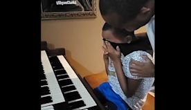 12-year-old boy delivers tearful piano performance after dad returns from hospital