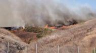 Blue Ridge Fire Burns Across Brush in Chino Hills, California