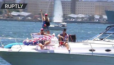 Trump supporters organise 'Trumparilla' boat parade to mark his 75th birthday