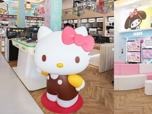 全國電子x三麗鷗首間聯名店開幕!Hello Kitty真人身高公仔+超大Switch遊戲機超吸睛