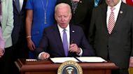 Biden runs out of ceremonial pens at bill signing