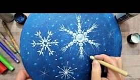 How To Paint A Snowy Night Dot Mandala In Acrylics BEGINNERS | Lydia May