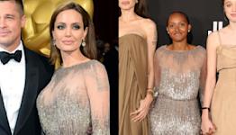Angelina Jolie's daughter Zahara, 16, wears mom's 2014 Oscars dress for 'Eternals' premiere