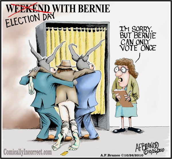 shady voting going on, like dead people voting for democrats. Cartoon ...