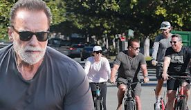 Arnold Schwarzenegger takes bike ride with kids Christina and Patrick