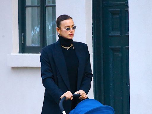 Irina Shayk Modernizes Monochrome Black Suiting For Mother-Daughter Stroll In NYC