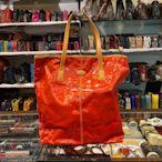 【茱麗葉精品】二手精品 TODS 時尚亮面防水PVC皮飾邊直式大購物包.紅-側邊溢膠