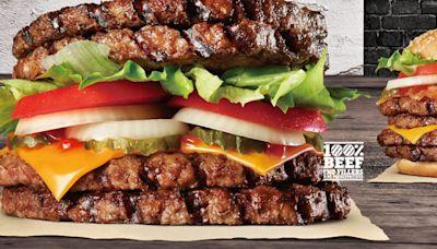 全台首創「全肉漢堡」!漢堡王限定14天可吃,4層牛肉排當麵包夾起來