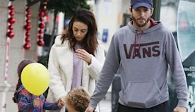 Ashton Kutcher & Mila Kunis Hold Hands With Kids Wyatt, 5, & Dimitri, 3, On Cute Family Outing — Pic