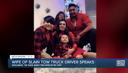 Wife of slain tow truck driver speaks out for the first time