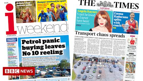 Newspaper headlines: 'Petrol panic' as 'transport chaos spreads'