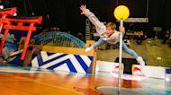"""Freerunner Pasha Petkuns bounces around in giant """"human pinball"""" machine"""
