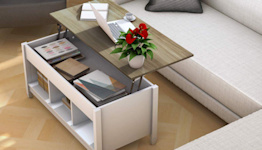 This Stylish Coffee Table Has a Secret Workspace and Plenty of Storage Space