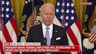 Federal workers must report shot status, Biden says