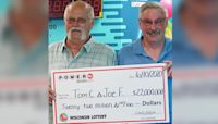He promised his friend he'd split the cash if he won the lottery. He's doing just that with his $22 million jackpot