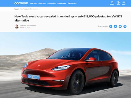 售價比 VW Golf 還便宜!外媒搶先公布特斯拉 Model 2 預測圖 - 自由電子報汽車頻道