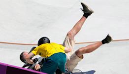 Australian Kieran Woolley crashes into cameraman during park skateboarding run at Olympics