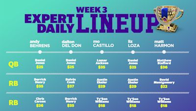 DFS Week 3: Fantasy expert lineups
