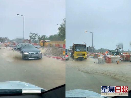 【片段】多處馬路湧現黃泥水擠塞 新界北水浸報告生效