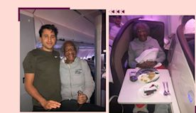 This 88-year-old woman boarded her seven-hour flight. Then a man surprised her with his business-class ticket.