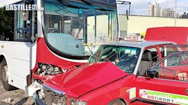 港鐵巴士攔腰撞的士 元朗大棠車禍約10人傷   社會事