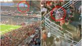 有片 貓咪懸吊半空 球迷攤開美國旗助着陸