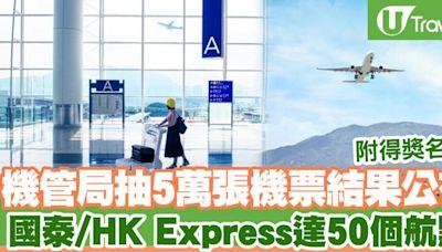【抽機票】機管局抽5萬張機票結果公布國泰/HK Express達50個航點! | U Travel 旅遊資訊網站
