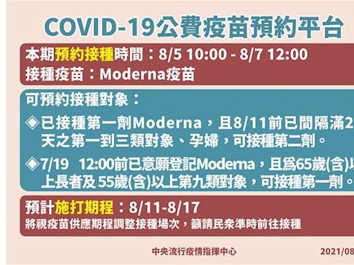 第五輪預約接種疫苗收單 51.9萬人於8月11日起開打莫德納