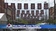 Avalanche Banners Hang On Larimer Square Ahead Of NHL Playoffs